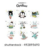 merry christmas hand drawn cute ... | Shutterstock .eps vector #492895693