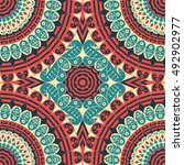 colorful ethnic patterned... | Shutterstock . vector #492902977