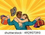 wife hugs her husband with... | Shutterstock .eps vector #492907393