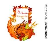 thanksgiving day cornucopia...   Shutterstock .eps vector #492912313