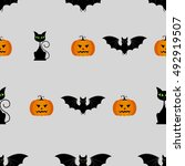 halloween seamless pattern with ... | Shutterstock . vector #492919507