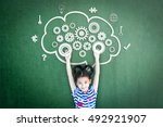 school girl kid student with... | Shutterstock . vector #492921907