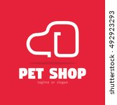 line dog pet shop simple logo... | Shutterstock .eps vector #492923293
