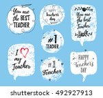happy teacher's day labels ... | Shutterstock .eps vector #492927913