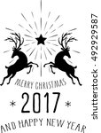 merry christmas and happy new... | Shutterstock .eps vector #492929587