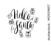 hello santa lettering design.... | Shutterstock .eps vector #492929857