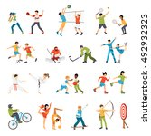 flat icons set of kids doing... | Shutterstock .eps vector #492932323