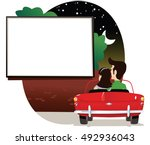 couple at drive in cinema. | Shutterstock .eps vector #492936043