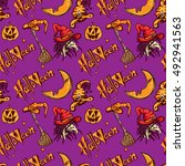 halloween pattern pumpkin witch | Shutterstock .eps vector #492941563
