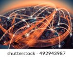 city scape and network... | Shutterstock . vector #492943987