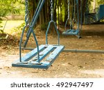 yellowish tone old day a swing... | Shutterstock . vector #492947497