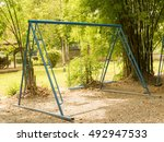 yellowish tone old day a swing... | Shutterstock . vector #492947533