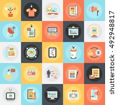 flat conceptual icons pack of... | Shutterstock .eps vector #492948817