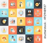 flat conceptual icons pack of... | Shutterstock .eps vector #492948937