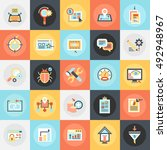 flat conceptual icons pack of... | Shutterstock .eps vector #492948967