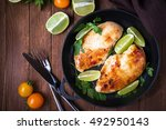 chicken breasts with lime and...   Shutterstock . vector #492950143