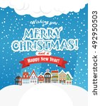 christmas greating card.... | Shutterstock .eps vector #492950503
