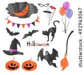 watercolor halloween icons set. ... | Shutterstock . vector #492963067