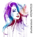 splatter watercolor portrait of ... | Shutterstock . vector #492969523