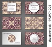 set of stylish business card... | Shutterstock .eps vector #492974203