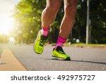 marathon running  with morning... | Shutterstock . vector #492975727