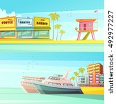 miami beach horizontal banners... | Shutterstock .eps vector #492977227