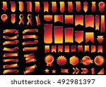 banner red vector icon set on... | Shutterstock .eps vector #492981397