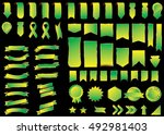 banner green vector icon set on ... | Shutterstock .eps vector #492981403
