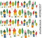 colorful houses.background | Shutterstock . vector #492982357