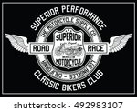 vintage motorcycle  classic... | Shutterstock .eps vector #492983107