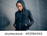 sad and lonely teenager...   Shutterstock . vector #492984343