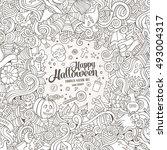 cartoon cute doodles hand drawn ... | Shutterstock .eps vector #493004317
