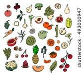 set colors elements vegetables... | Shutterstock .eps vector #493010947