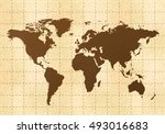 retro world map on yellow old... | Shutterstock . vector #493016683