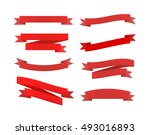 set of red different retro... | Shutterstock . vector #493016893