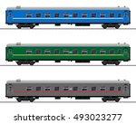 passenger train cars. railway... | Shutterstock .eps vector #493023277