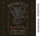 knuckle twin head motorcycle... | Shutterstock .eps vector #493029193