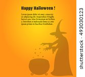 silhouette of a scary  witch... | Shutterstock .eps vector #493030123