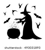 black silhouette of a scary ... | Shutterstock .eps vector #493031893