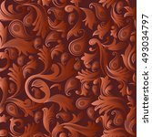 baroque damask modern... | Shutterstock .eps vector #493034797
