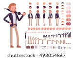 Smart casual male character creation set. Build your own design. Cartoon vector flat-style infographic illustration | Shutterstock vector #493054867