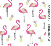 seamless pattern with pink... | Shutterstock .eps vector #493055503