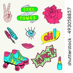 fashionable patch elements set. ... | Shutterstock .eps vector #493058857