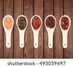 different sauces are on the... | Shutterstock . vector #493059697