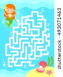 maze game. help mermaid find... | Shutterstock . vector #493071463