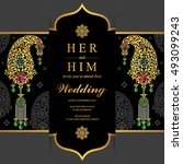 wedding invitation or card with ...   Shutterstock .eps vector #493099243