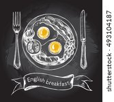 english breakfast with fried... | Shutterstock .eps vector #493104187