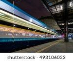train speeding through railway...   Shutterstock . vector #493106023