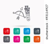amour arrows and bow icon.... | Shutterstock .eps vector #493114927