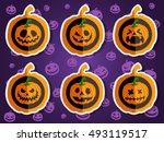 face pumpkins for halloween set ... | Shutterstock .eps vector #493119517